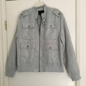 Men's STRUCTURE light gray bomber zip up jacket L
